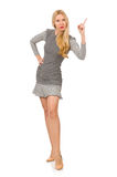 Blondes Mädchen im Tupfenkleid lokalisiert auf Weiß Lizenzfreies Stockfoto