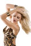 Blondes Mädchen im Wind Stockfotografie