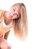 Blondes Mädchen mit blauen Augen Stockfotos