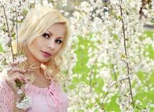 Blondes Mädchen mit Cherry Blossom. Frühlings-Porträt. Stockfoto
