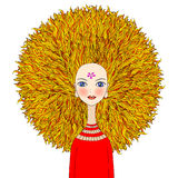 Blondes Mädchen mit dem drastischen Haar stock abbildung
