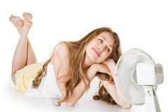 Blondes Mädchen mit Gebläse Stockfotos