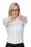 Blondes Mädchen mit Gläsern Lizenzfreies Stockbild
