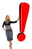 Blondes Mädchen mit Glühen-rotem Ausrufs-Zeichen. Lizenzfreies Stockfoto
