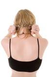 Blondes Mädchen mit Handschellen Stockbild