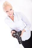 Blondes Mädchen mit Kamera Stockfotos