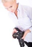 Blondes Mädchen mit Kamera Lizenzfreie Stockfotos