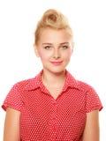 Blondes Mädchen Pin-oben mit dem Retro- Haarbrötchen lokalisiert lizenzfreies stockfoto