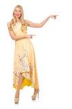 Blondes Mädchen in reizend Kleid mit Blume druckt Stockfotos