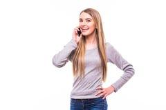 Blondes Mädchen sprechen am Telefon Stockbild
