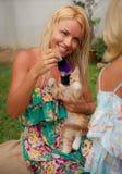 blondes Mädchen und rotes Kätzchen auf Gras Stockfotos