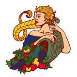 Blondes Mädchenhaar im Zopf, der Fülle mit Obst und Gemüse, Erntezeitillustration hält Stockfotos