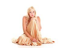 Blondes Mode-Modell-Kleid der Frau lokalisiert Lizenzfreie Stockfotografie