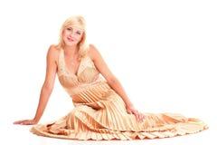 Blondes Mode-Modell-Kleid der Frau lokalisiert Lizenzfreies Stockbild