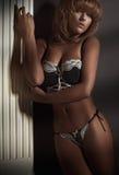 Blondes Modell der Schönheit in der Wäsche Stockbilder