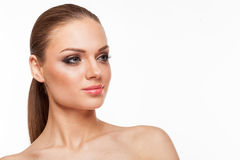 Blondes Modell mit Fachmann bilden Lizenzfreie Stockfotos