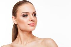 Blondes Modell mit Fachmann bilden Stockfoto