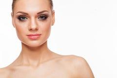 Blondes Modell mit Fachmann bilden Stockfotografie