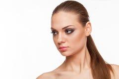 Blondes Modell mit Fachmann bilden Stockbilder