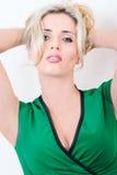 Blondes Porträt im Kleid Stockbilder