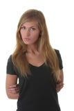 Blondes Portrait der jungen Frau (Kursteilnehmer) Stockfotografie