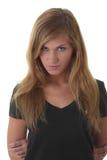Blondes Portrait der jungen Frau (Kursteilnehmer) Lizenzfreies Stockfoto