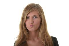 Blondes Portrait der jungen Frau (Kursteilnehmer) Stockfotos