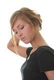 Blondes Portrait der jungen Frau (Kursteilnehmer) Stockfoto