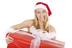 Blondes Sankt-Geschenk Lizenzfreie Stockfotografie