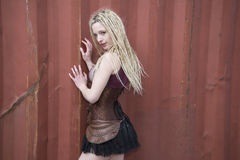 Blondes Steampunk-Mode-Modell Lizenzfreies Stockfoto