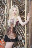 Blondes Steampunk-Mode-Modell Stockbilder