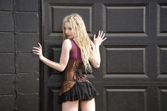 Blondes Steampunk-Mode-Modell Stockfoto