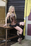 Blondes Steampunk-Mode-Modell Lizenzfreies Stockbild