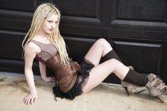 Blondes Steampunk-Mode-Modell Lizenzfreie Stockfotografie
