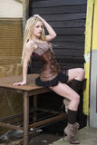 Blondes Steampunk-Mode-Modell Lizenzfreies Stockfoto