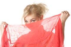Blondes versteckendes Gesicht Stockbild