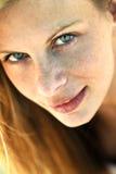 Blondes vorbildliches Headshot Stockbilder