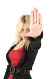 Blondes weibliches Endzeichen Stockfoto