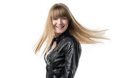 Blondes wellenartig bewegendes Haar der Frau Stockbilder