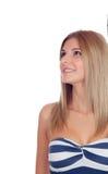 Blondes zufälliges Mädchendenken Lizenzfreie Stockbilder