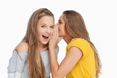 Blondestudent die aan haar vriend fluisteren Stock Fotografie
