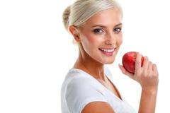 Blondevrouw met appel Dieet Gezonde Levensstijl Royalty-vrije Stock Foto