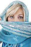 Blondevrouw met sluier Stock Foto's