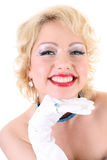 blondie微笑的妇女年轻人 库存照片