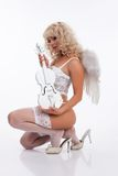 Blondie Angel With Violin Royalty Free Stock Images