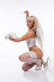 Blondie Angel With Violin Royalty Free Stock Photos