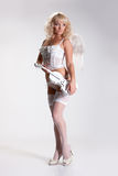 Blondie Angel With Violin Royalty Free Stock Image