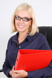 Blondie businesswoman with folders Royalty Free Stock Images