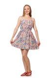 The blondie caucasian girl in summer light dress isolated on white Stock Image