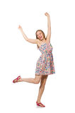 The blondie caucasian girl in summer light dress isolated on white Stock Photos